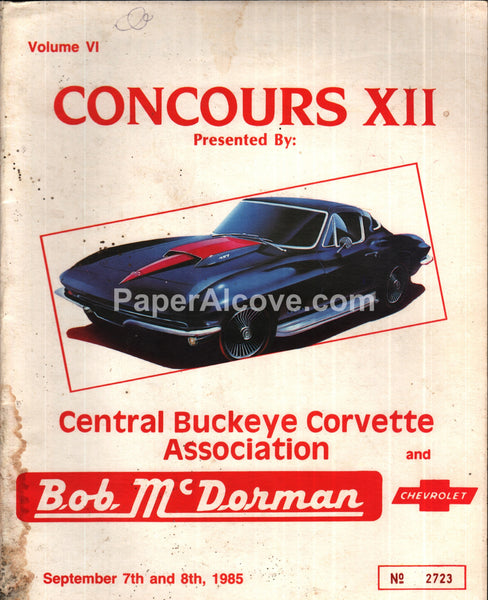 Central Buckeye Corvette Association Concours XII 1985 Chevrolet Ohio program