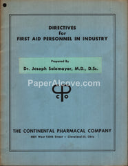 Industrial First Aid Manual 1959 Continental Pharmacal Cleveland