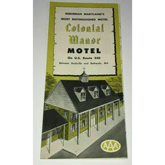 1950s Colonial Manor Motel Brochure Vintage Rockville Maryland US Route 240 AAA