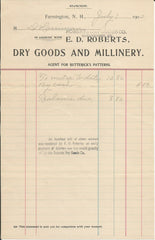 E.D. Roberts Dry Goods & Millinery Farmington NH 1902 billhead Butterick Patterns