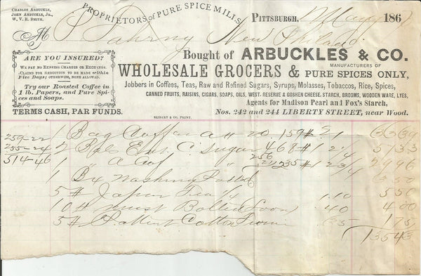 Arbuckles & Co. Pittsburgh PA 1867 billhead wholesale grocer spices