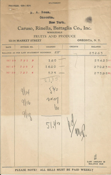 Caruso Rinella Battaglia Co Oneonta NY 1931 Billhead lot Fruits & Produce