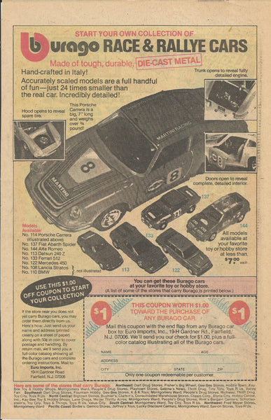 1979 Burago Race & Ralley Toy Cars Die-Cast Metal vintage print ad