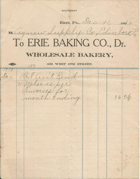 Erie Baking Co. Erie PA 1913 billhead