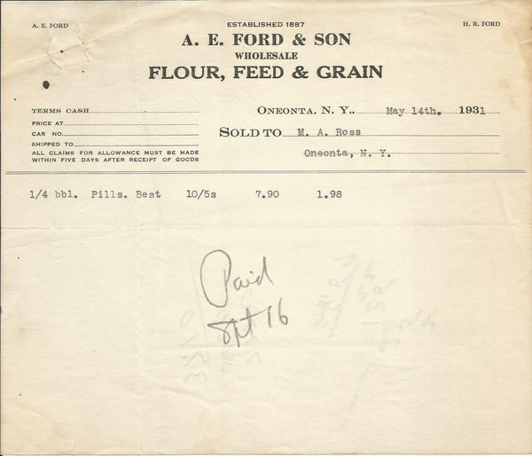 A.E. Ford & Son Oneonta NY 1931 Lot of 2 Billheads Flour Feed Grain