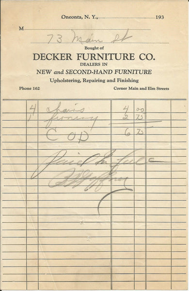Decker Furniture CO Oneonta NY 1930s Billhead New & Second-Hand Furniture Upholstering Repairing & Finishing