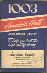 1003 Household Hints 1951 Booklet American Security & Trust Washington DC