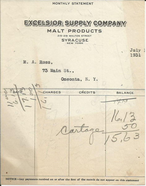 Excelsior Supply Co Syracuse NY 1931 Billhead Malt Products