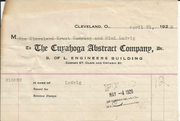 Cuyahoga Abstract Co Cleveland OH 1920 Billhead Cleveland Trust