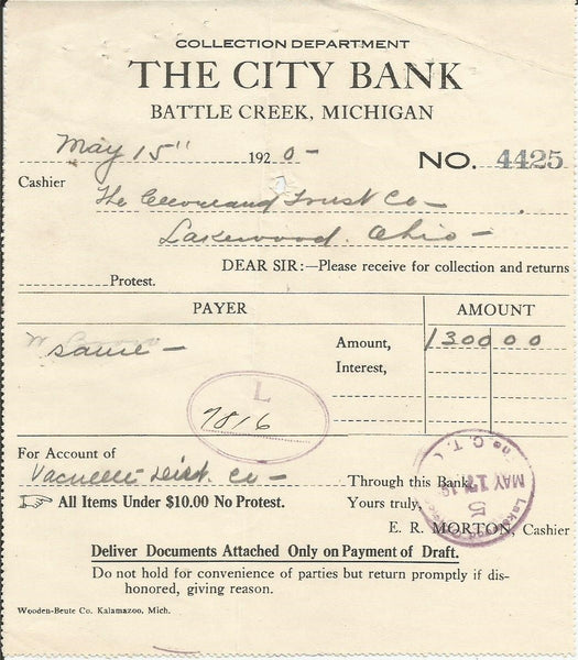 City Bank Battle Creek MI 1920 Billhead