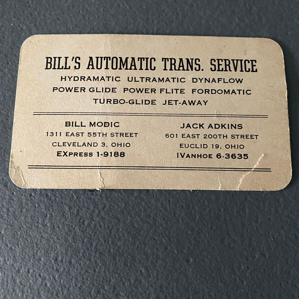 Bill's Automatic Transmission Service vintage 1950s business card Cleveland Modic Jack Adkins