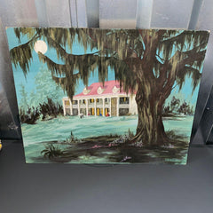 Southern Mansion Painting Linda Williams 1967 Canvas Spanish Moss Folk Art