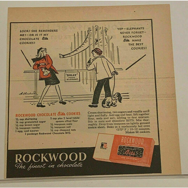 1947 Rockwood Chocolate Bits Semi-Sweet Chips Candy Elephant Vintage Print Ad