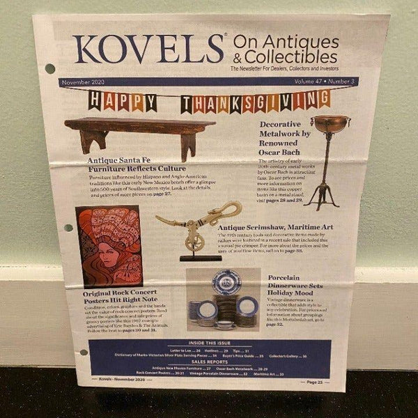 Kovel's on Antiques & Collectibles November 2020 magazine rock concert posters