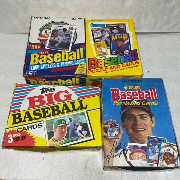 Baseball Card Wax Pack Box Lot 1988 Fleer Topps Big 3rd Series 1988 1989 Donruss