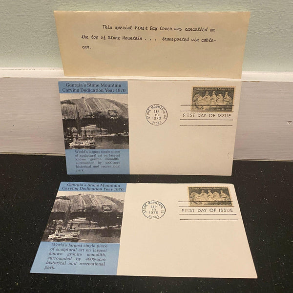 Stone Mountain Memorial 1970 FDC Lot of 2 Scott 1408 Cachet Cable Car