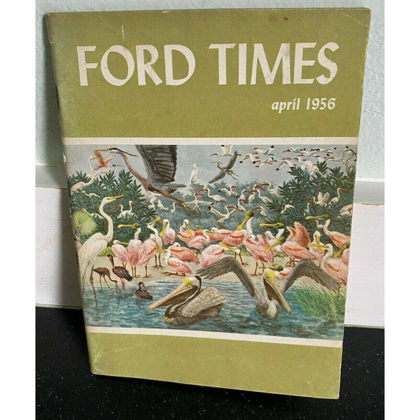 Ford Times April 1956 Laughman Motor Barberton Ohio Pink Flamingos