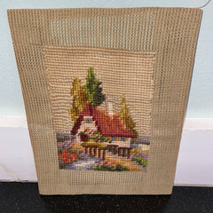vintage needlepoint cottage stream bridge antique