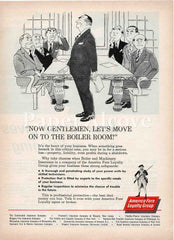America Fore Loyalty Group insurance 1961 ad boardroom to boiler room