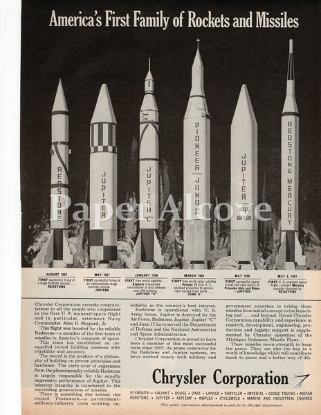 Chrysler Corporation America's First Family of Rockets and Missiles 1961 ad