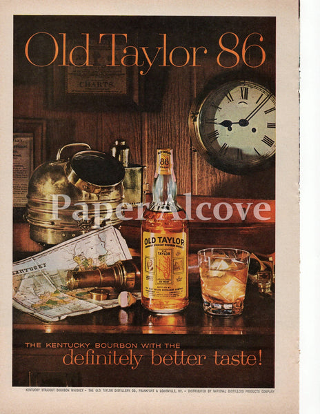 Old Taylor 86 Kentucky Bourbon Whiskey mariner 1961 ad