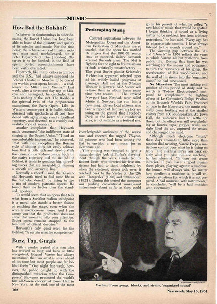 Edgard Varese 1961 old magazine article about electronic music composer