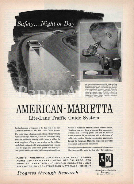 American-Marietta Lite-Lane Traffic Guide System 1961 ad Chicago IL