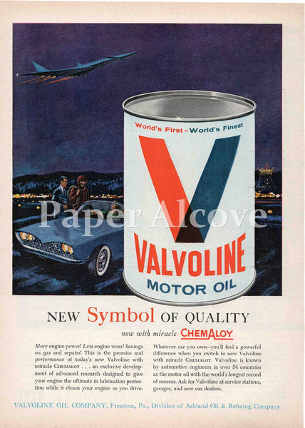 Valvoline Motor Oil white can 1961 vintage ad Freedom PA Ashland Oil & Refining Company