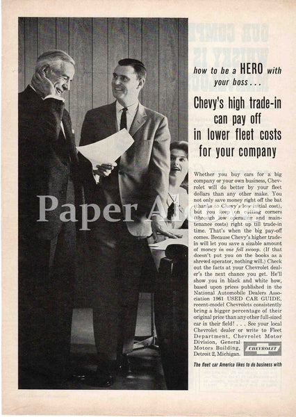 Chevrolet How to be a Hero with your Boss 1961 ad lower fleet costs