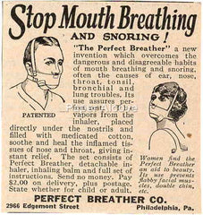 Perfect Breather stop mouth breathing and snoring 1925 ad Philadelphia PA quackery