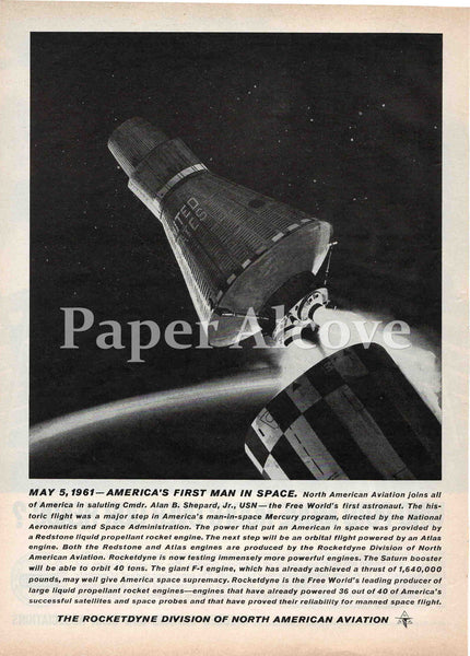 North American Aviation Rocketdyne Division 1961 ad NASA Mercury Program