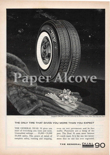 General Dual 90 Car Tire 1961 ad sable coat Revillon Freres