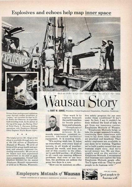 Employers Mutuals of Wausau insurance 1961 ad United Geophysical Corp Pasadena CA