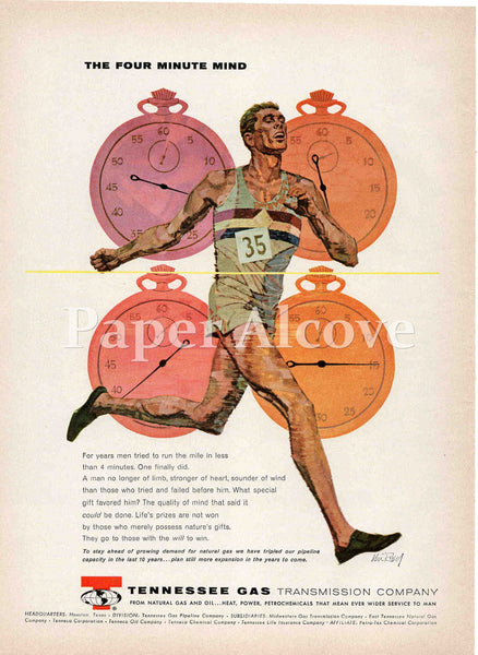 Tennessee Gas Transmission Company Four Minute Mind 1961 ad Houston TX runner running