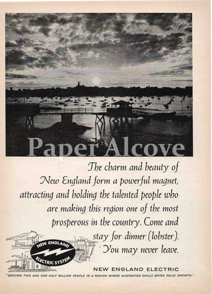 New England Electric System 1961 ad boats & pier