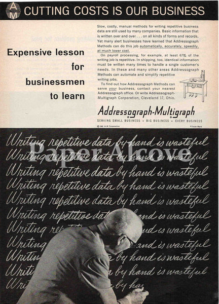 Addressograph-Multigraph Expensive Lesson 1961 vintage ad martini chalkboard