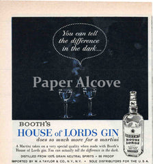 Booth's House of Lords Gin You Can Tell the Difference in the Dark 1961 ad martini