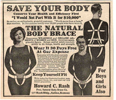 Natural Body Brace 1925 ad Howard C. Rash Salina KS quackery