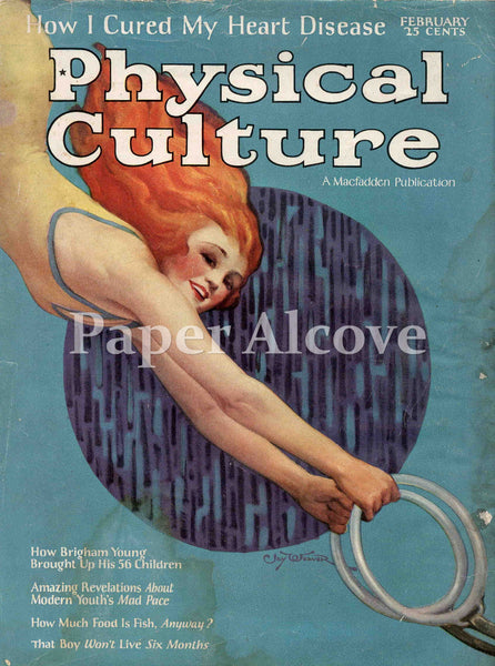 Physical Culture February 1925 old vintage magazine cover only redhead woman gymnast on rings
