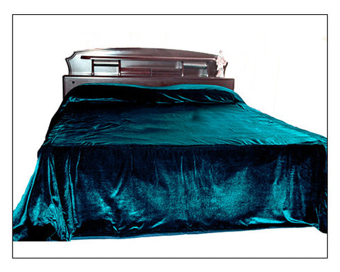 Luxury teal velvet bedcover