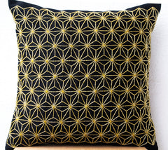 Japanese Sashiko Hemp Leaf Designer Accent Pillows