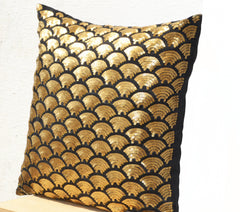 Decorative Throw Pillow in Black Silk Gold Sashiko Design Halloween Holiday Decor