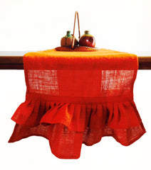 Handcrafted orange burlap table runner with frills Halloween holiday decor