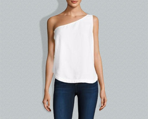 Side Button One-Shoulder Top