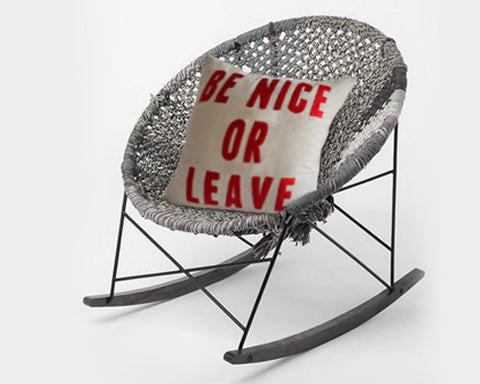 Be Nice Or Leave Hand Embroidered Linen Pillow Cover