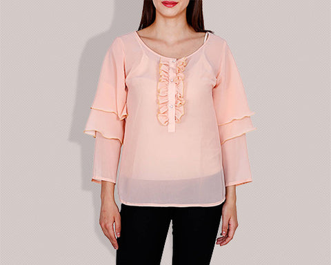 Amore Beaute Ruffled Top with Feminine Ruffle Sleeves