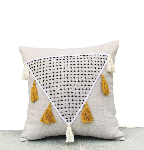 Amore Beaute Handmade Shaggy Pillow With Tassels