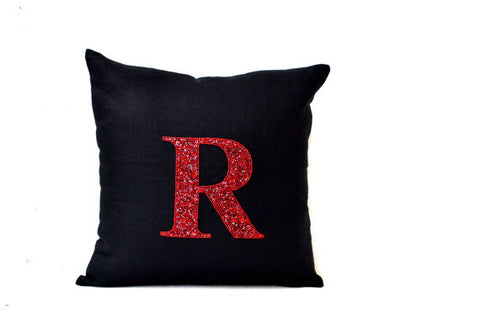 Handmade throw pillow with monogram and sequin