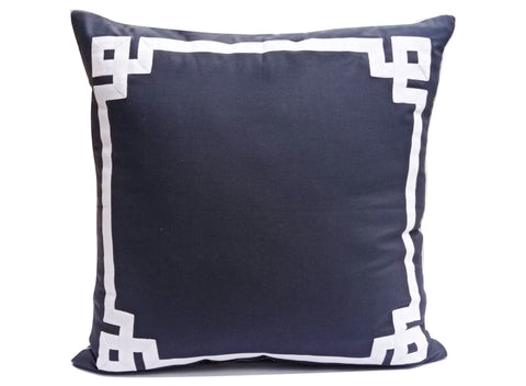 Navy Blue White Greek Key Pillow Cover