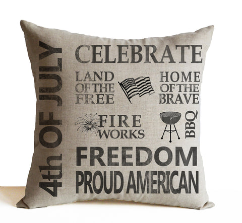 4th of July Independence Day Pillow Cover With Printed Quotes Like 'Land Of Free', 'Home Of Brave'